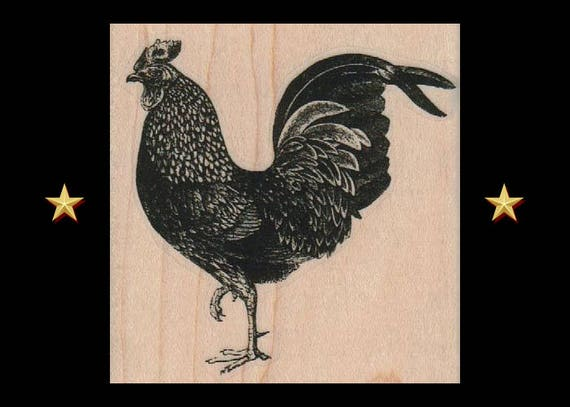 CHICKEN Rubber Stamp Rooster Farm Animal