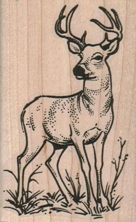 DEER Rubber Stamp Deer With Antlers