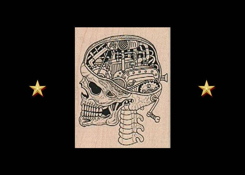 STEAMPUNK SKULL Rubber Stamp Skull Skeleton