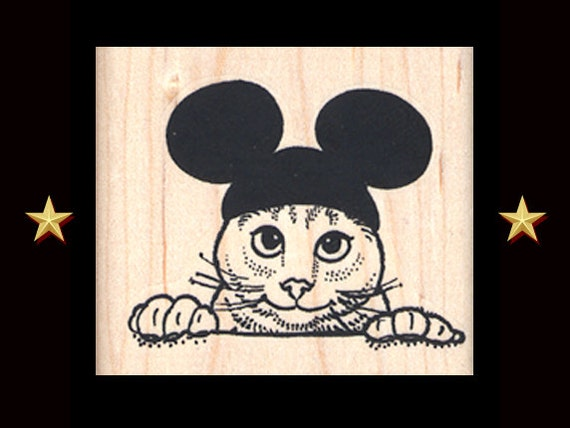 MICKEY MOUSE CAT Rubber Stamp Cat With Mickey Ears