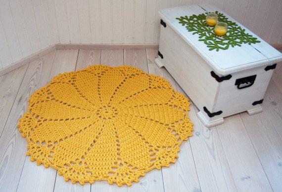 Runde gelbe Deckchen Teppich 43 in / 110 cm runder Teppich | Etsy