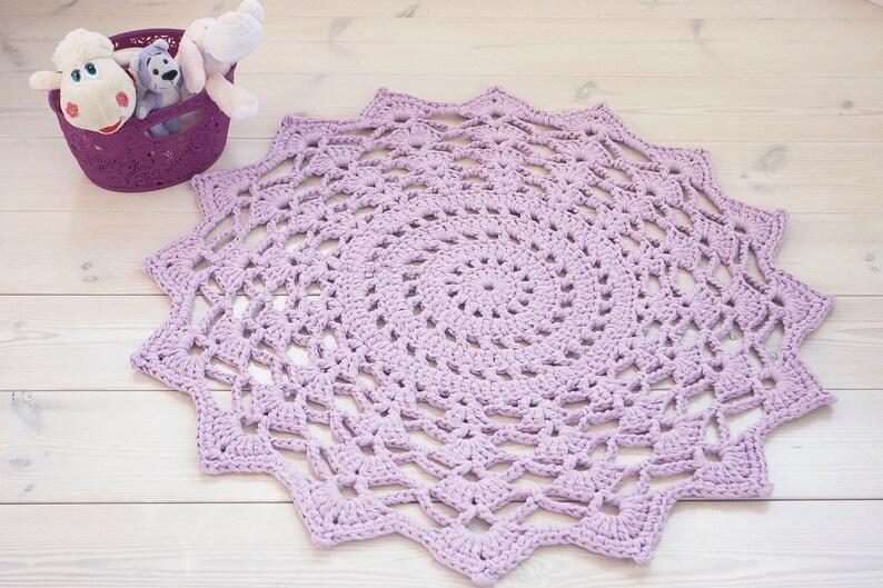 Tappeto Alluncinetto Lilla 39 100 Cm Cotone Crochet Etsy