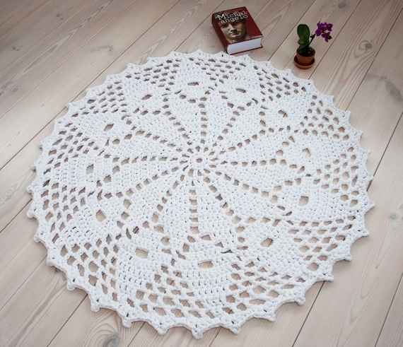 Weiß häkeln Teppich 45 / 115 cm Runde Deckchen Teppich | Etsy