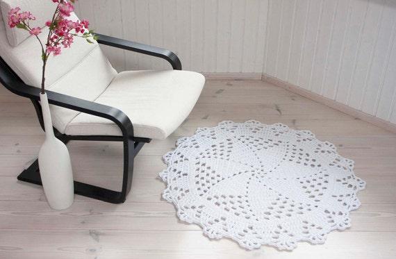 Weiß häkeln runden Teppich 103 cm / 41 häkeln Deckchen