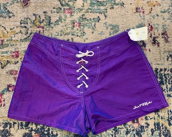 317f97a804 Vintage 90s Purple Surf Style Laceup Board Shorts Medium