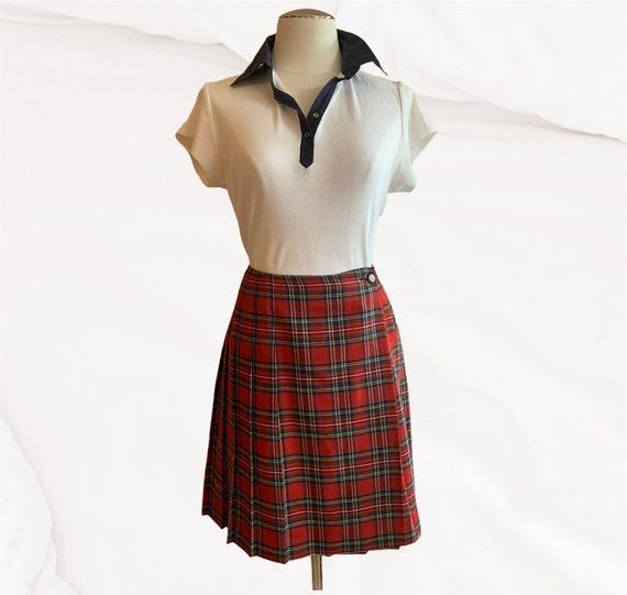 Vintage Red Tartan Pleated 'Typhany' Kilt Skirt