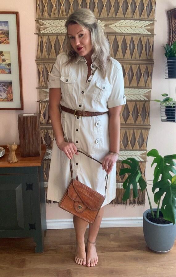 Vintage 90's 'Cherokee' Beige Cotton Day Dress XL