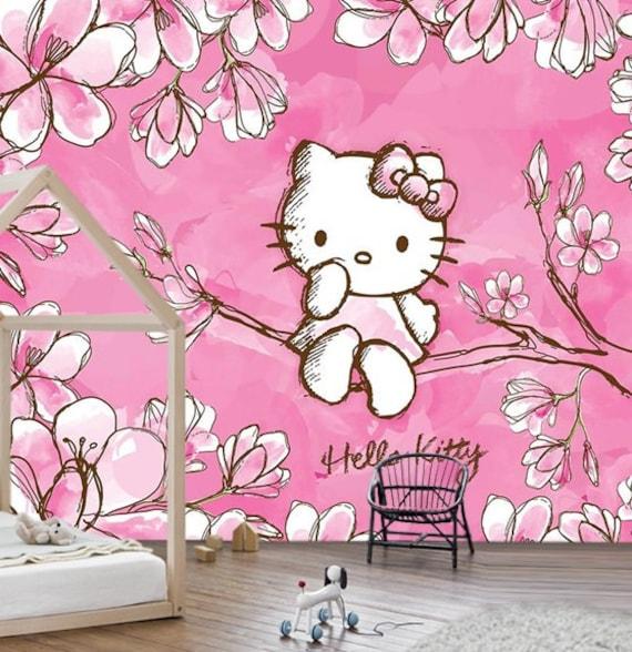 Wallpaper Hello Kitty Pink Nursery Vinylself Adhesive