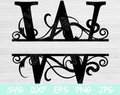 Split Letter Svg, Monogram Svg. Alphabet Font Svg Files for Cricut and Silhouette. Black Sliced Capital Letter Cut Files with Swirl Designs.