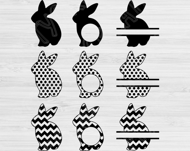 Bunny Svg Split Chevron And Polka Dots Easter Svg Files For Cricut And Silhouette Easter Bunny