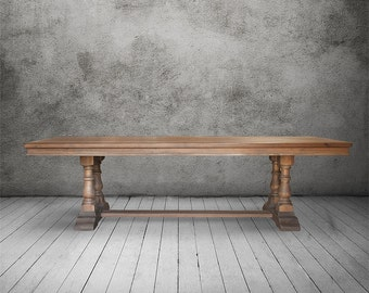 Dining Table, Trestle Table, Reclaimed Wood, Baluster Table, Wood Table, Handmade, Rustic