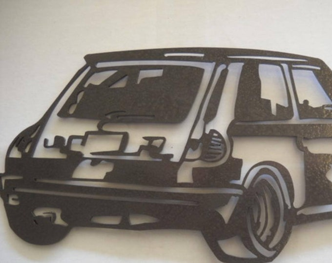 decoration plate teaches in metal RENAULT R5 TURBO