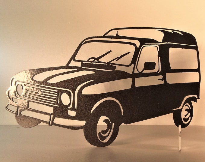 Plate teaches RENAULT 4 FOURGONETTE in painted iron