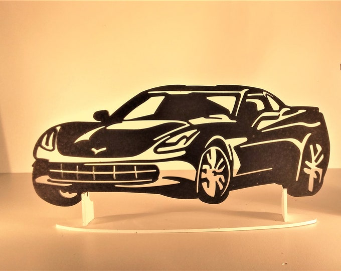 Plaque painted iron shop sign CHEVROLET CORVETTE C7