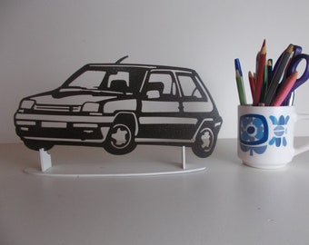 decoration plate teaches in metal RENAULT 5 GT TURBO