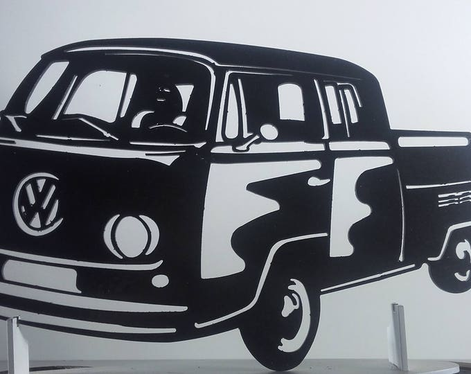 Plate combi volkswagen BAY WINDOW T2 donka iron sign painted hammered effect finish