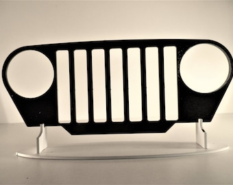 Plate teaches CALANDRE JEEP steel finish paint hammered effect