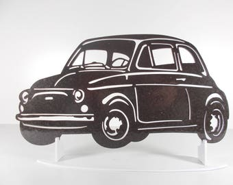 decoration plate teaches in metal FIAT 500