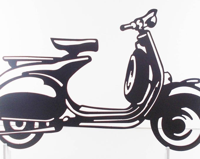 Plate plaque Vespa in iron painted hammered effect finish