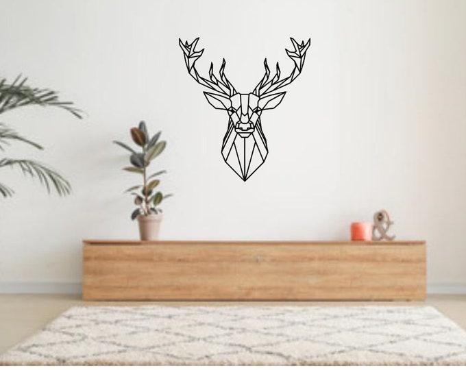 plaque painted iron deer head