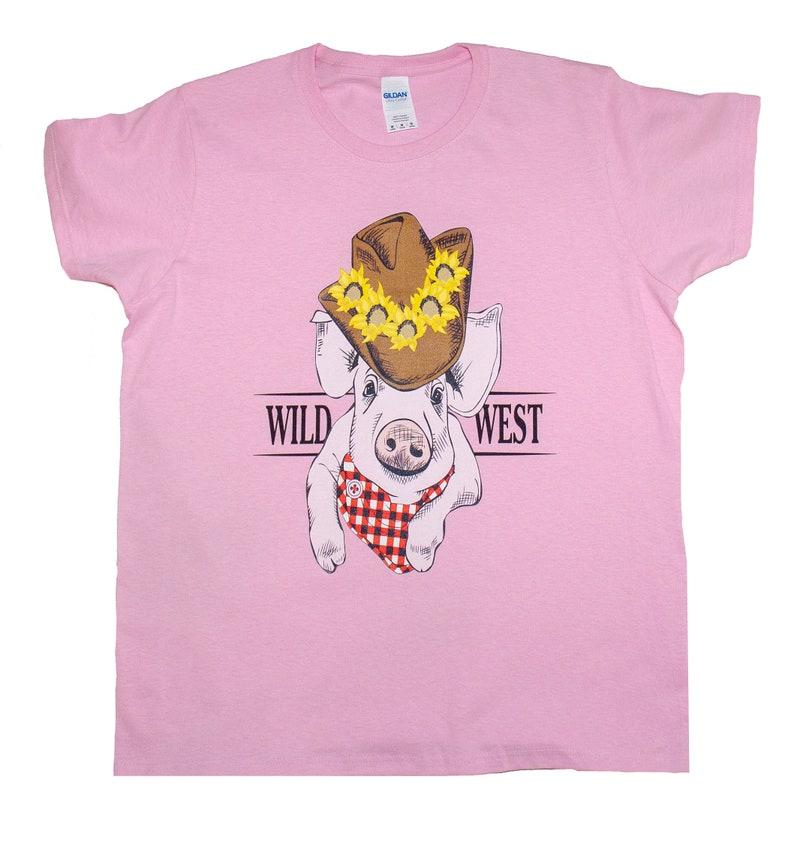 b7df6f36 Pig Cowboy Hat Wild West Bandana T-Shirt Women Cute Funny | Etsy