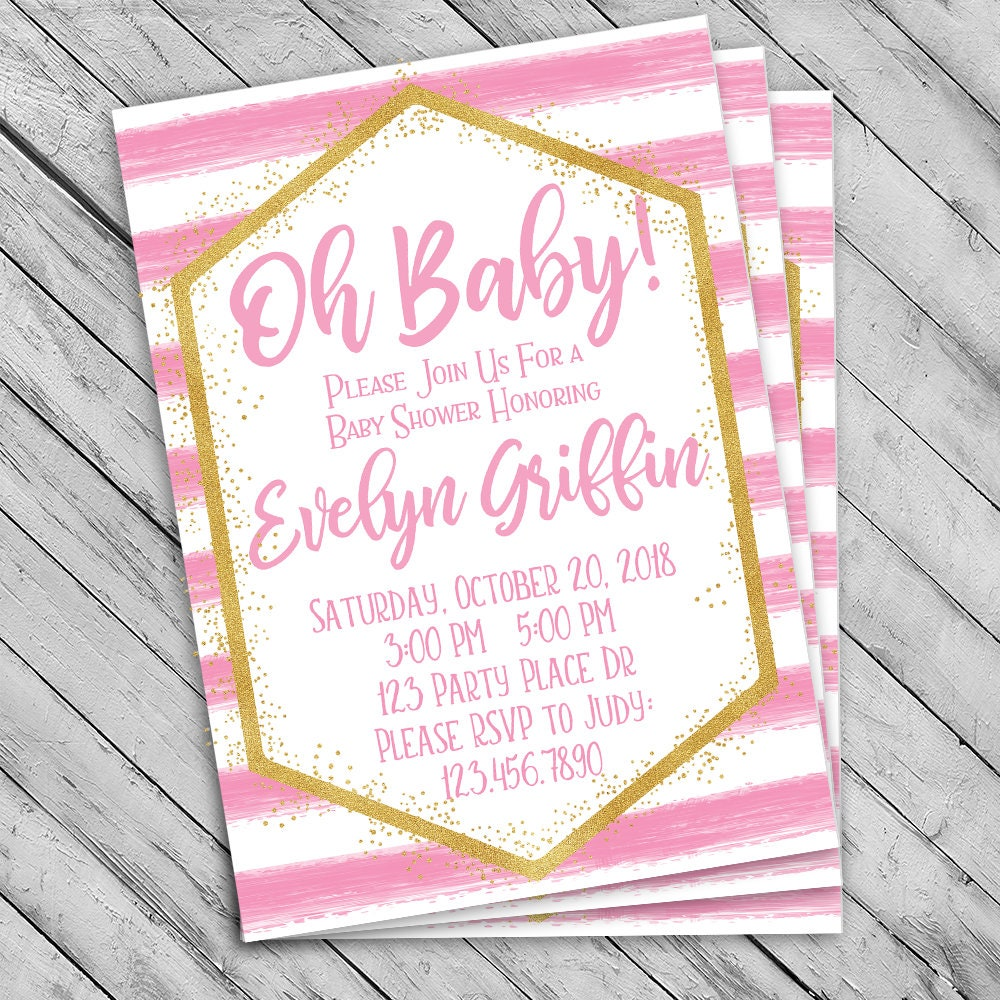 Oh Baby shower invitation Pink and gold stripe invite Gold   Etsy