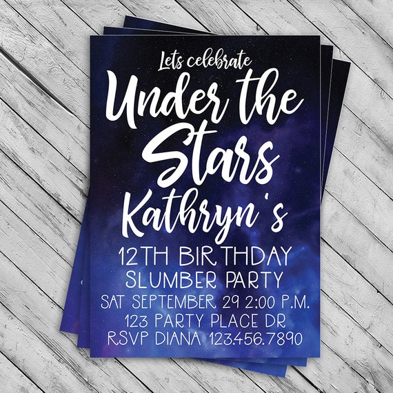 under the stars invitation slumber party invite sleep over etsy