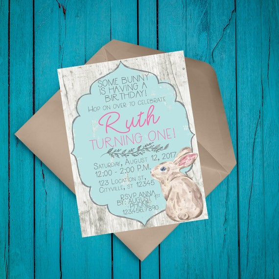 5x7 Some Bunny Birthday Invitation First Printable