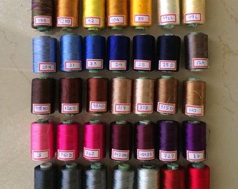 12 Spools of Silk thread, Indian silk embriodery threads, Art silk thread for machine use and silk tassel making