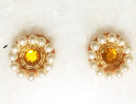 Applique in oro perline perle giallo. zone del fiore pulsante etsy