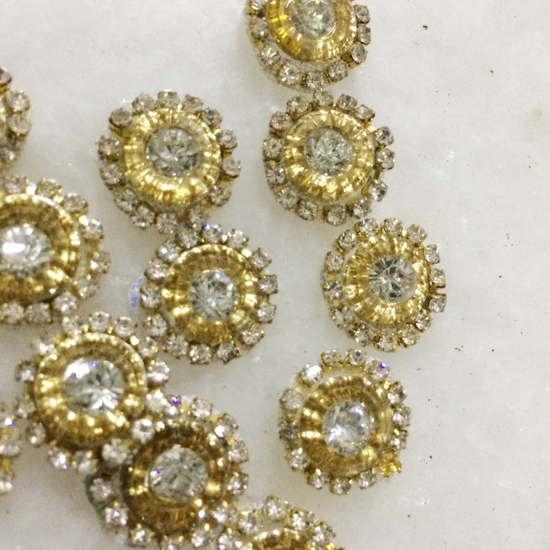 4d1cc099f3 P7 Gold Rhinestone Appliques, Beaded Circle small applique patches, Indian  Wedding dress embellishment. Sew on patches for jackets costume