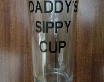 Daddy's Sippy Cup, Funny Beer Glasses, Dad Beer Glasses, Beer Glasses, Father's Day Gift