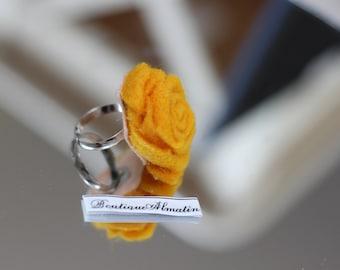 Honey mustard handmade felt adjustable rose ring