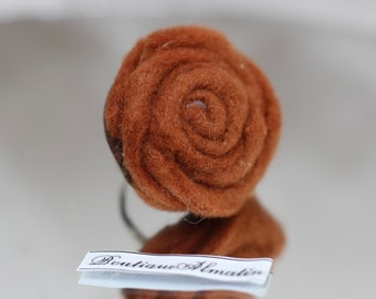 Brown handmade adjustable rose ring
