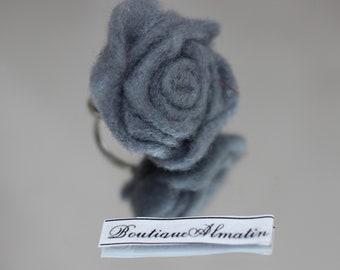Handmade grey adjustable rose ring