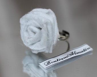 White handmade adjustable rose ring