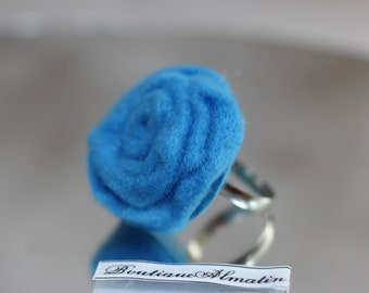 Handmade light blue adjustable rose ring