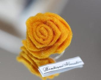 Handmade mustard adjustable rose ring