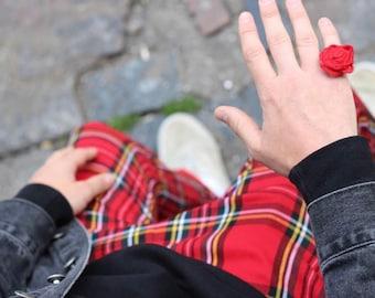 Red rose handmade felt adjustable ring