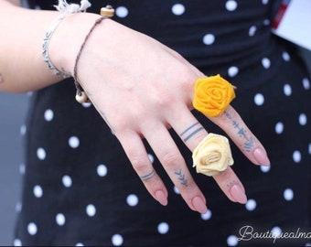 Handmade yellow adjustable rose ring