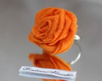 Orange handmade adjustable rose ring