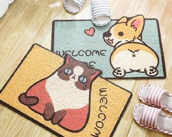 Cute Pet Dog Cat Corgi Animals Welcome Doormat Entrance Printed Non-Slip Floor Rugs Front Door Mat Outdoor Rugs Carpet Bedroom Kitchen