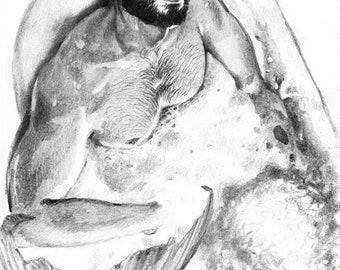 Beardy merman. Print. 30x40 cm.