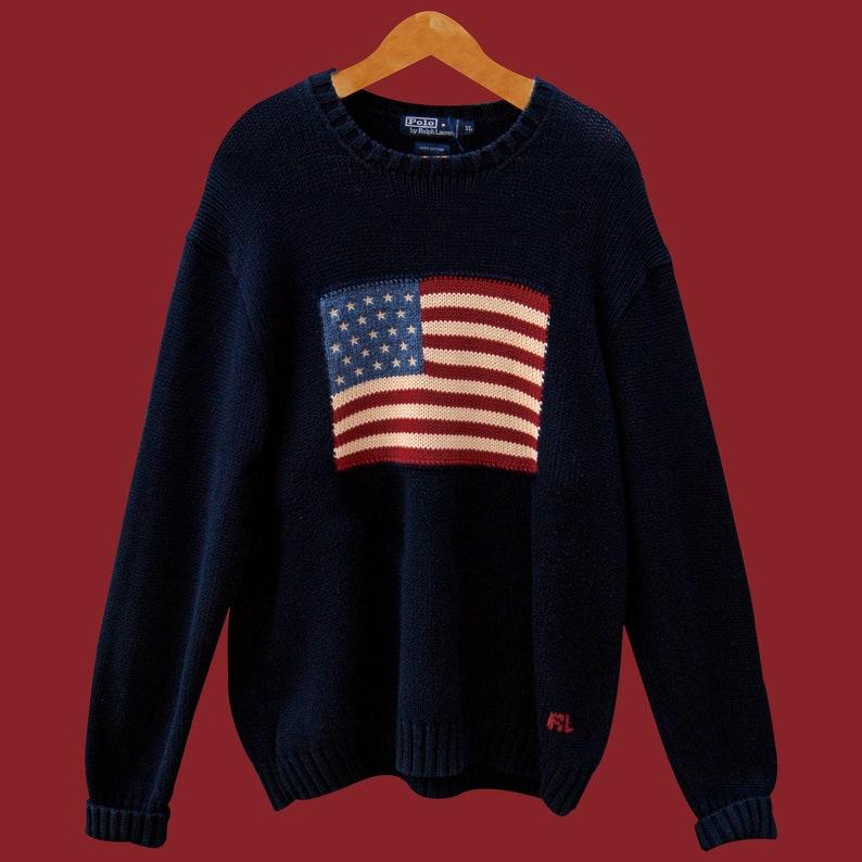 Men's Clothing Responsible Ralph Lauren Usa Flag Crew Neck Men Sweater Size Xl