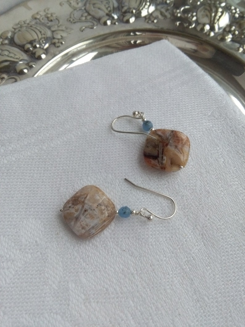 chop stick agate and blue dumortierite oval earrings Natural pink agate sterling silver earrings