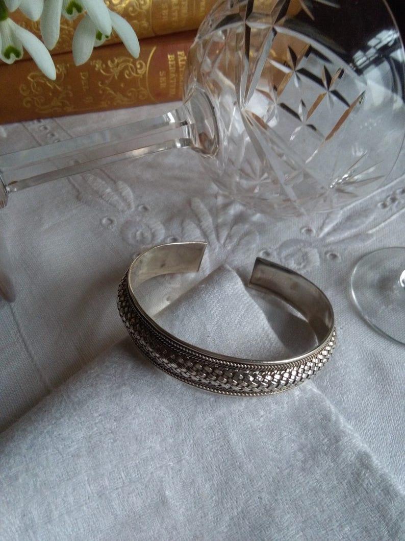 balinese basket-weave silver cuff bali artisan handmade bangle Sterling silver woven bangle 20gr