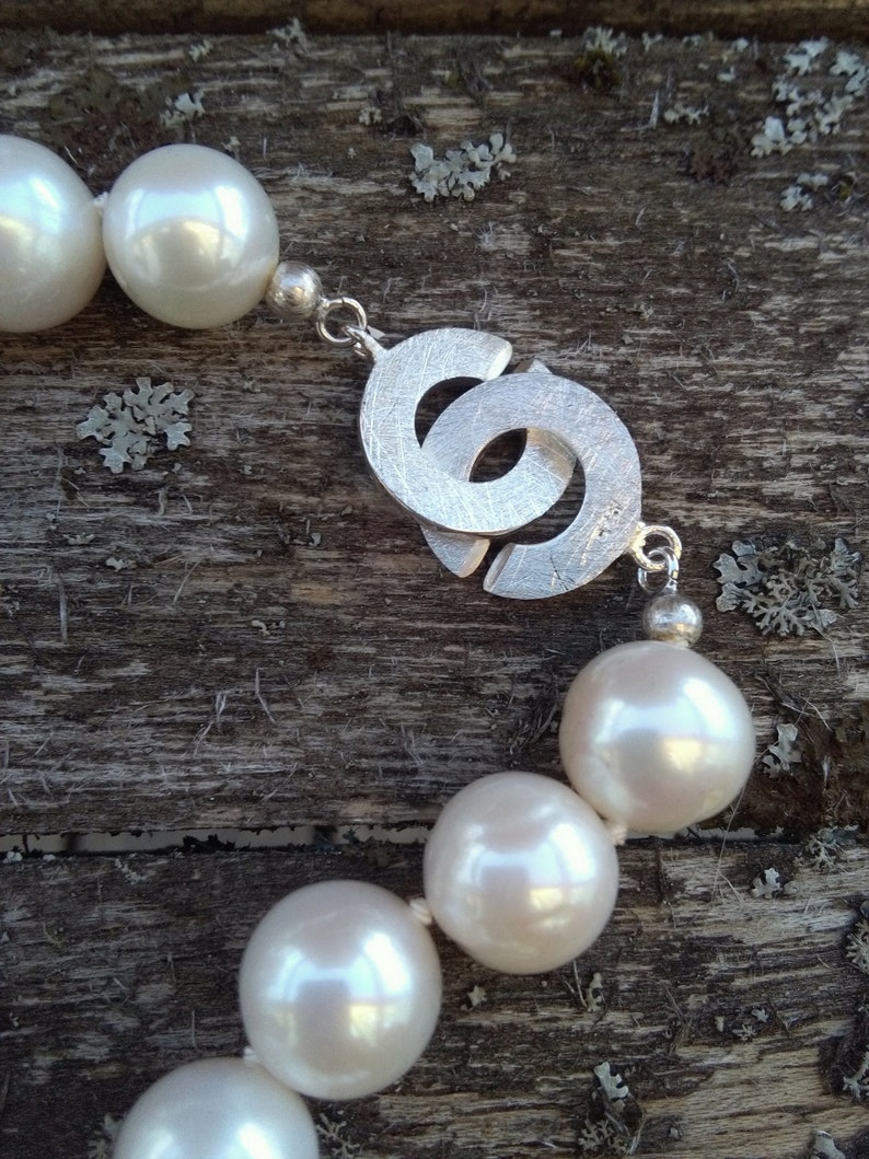 Real Freshwater 11mm White Pearl Necklace// Sterling Silver Clasp