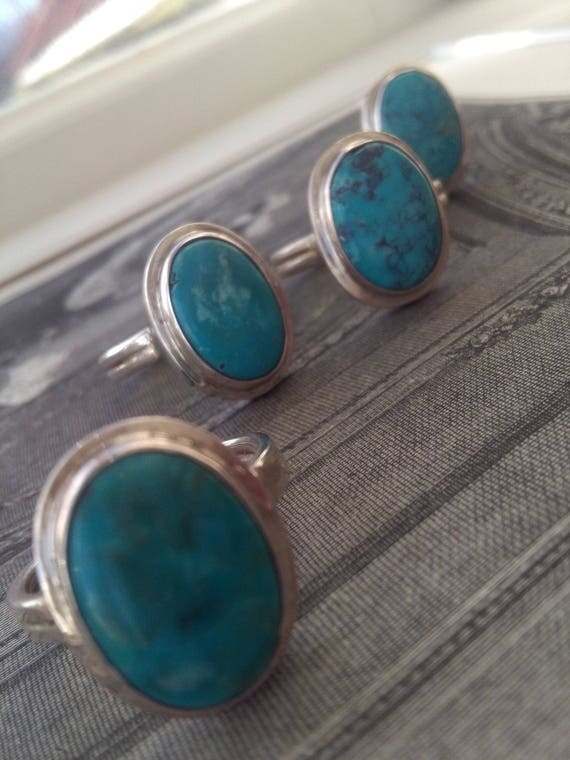 Turquoise ring, natural turquoise, sterling silver