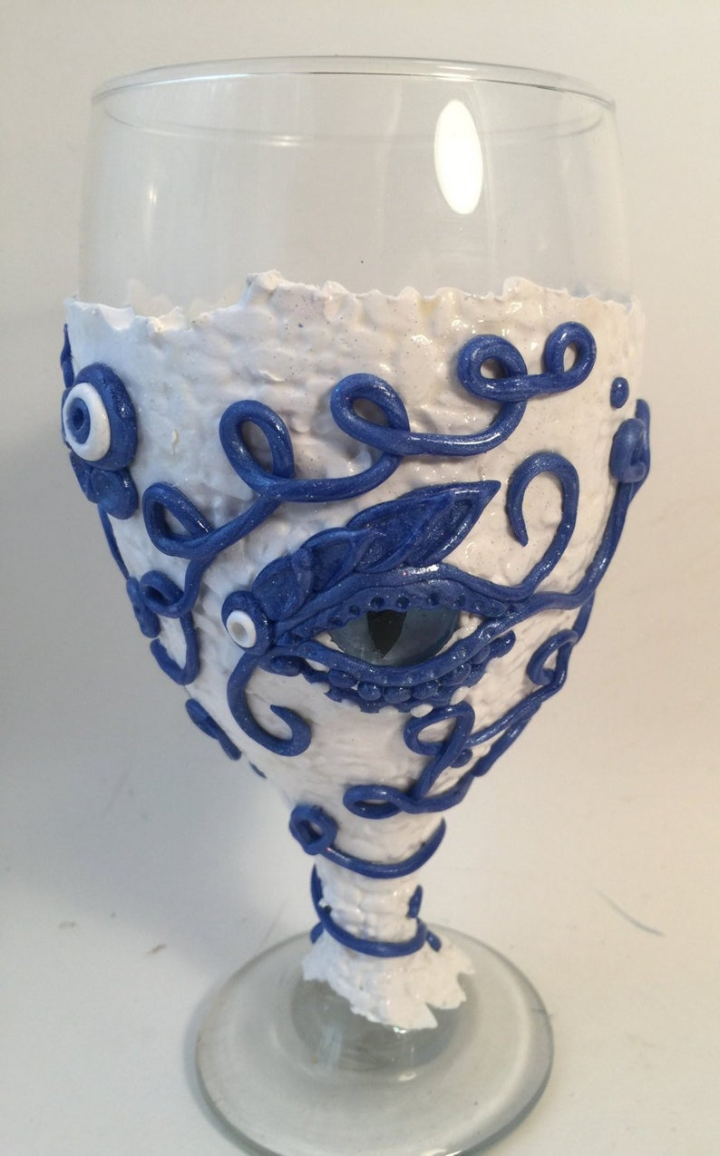 White and blue dragon eye goblet image 0