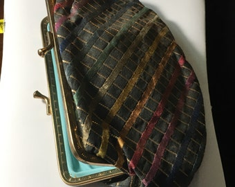 Vintage Multicolored Striped Clutch